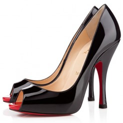 Replica Christian Louboutin Maryl 120mm Peep Toe Pumps Black Cheap Fake Shoes