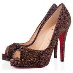 Replica Christian Louboutin Very Riche Strass 120mm Peep Toe Pumps Plum Cheap Fake Shoes