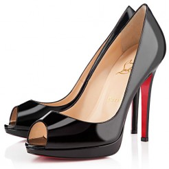 Replica Christian Louboutin Yolanda Spikes 120mm Peep Toe Pumps Black Cheap Fake Shoes