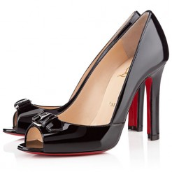Replica Christian Louboutin Openbelt 100mm Peep Toe Pumps Black Cheap Fake Shoes