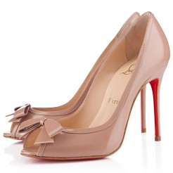 Replica Christian Louboutin Milady 100mm Peep Toe Pumps Nude Cheap Fake Shoes