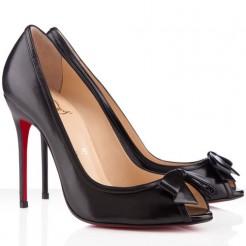 Replica Christian Louboutin Milady 100mm Peep Toe Pumps Black Cheap Fake Shoes
