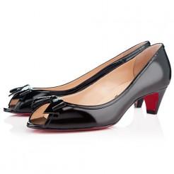 Replica Christian Louboutin Milady 40mm Peep Toe Pumps Black Cheap Fake Shoes