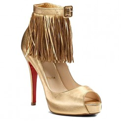 Replica Christian Louboutin Short Tina Fringe 120mm Special Occasion Gold Cheap Fake Shoes