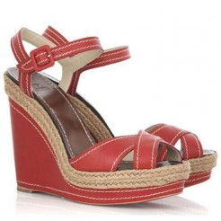 Replica Christian Louboutin Almeria 120mm Wedges Red Cheap Fake Shoes