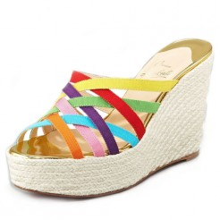 Replica Christian Louboutin Crepon 140mm Wedges Multicolor Cheap Fake Shoes