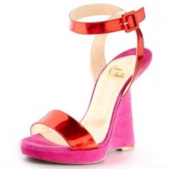 Replica Christian Louboutin Djaldos Spechio Colorblock Wedges Pink Cheap Fake Shoes