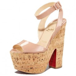 Replica Christian Louboutin Super Dombasle 140mm Wedges Nude Cheap Fake Shoes