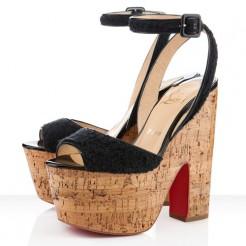 Replica Christian Louboutin Super Dombasle 140mm Wedges Black Cheap Fake Shoes