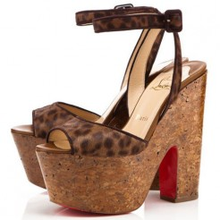 Replica Christian Louboutin Super Dombasle 140mm Wedges Leopard Cheap Fake Shoes