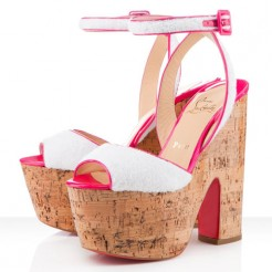 Replica Christian Louboutin Super Dombasle 140mm Wedges White Cheap Fake Shoes