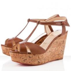 Replica Christian Louboutin Marina Liege 100mm Wedges Fauve Cheap Fake Shoes
