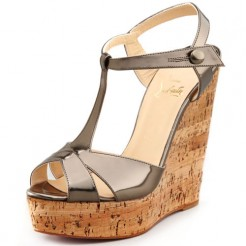 Replica Christian Louboutin Marina Liege 140mm Wedges Taupe Cheap Fake Shoes