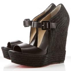 Replica Christian Louboutin Praia Espadrille 140mm Wedges Black Cheap Fake Shoes