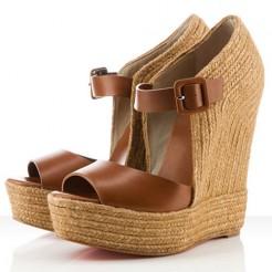 Replica Christian Louboutin Praia Espadrille 140mm Wedges Brown Cheap Fake Shoes