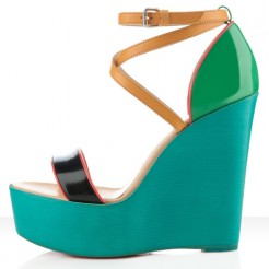 Replica Christian Louboutin Si Ma Zeppa 140mm Wedges Multicolor Cheap Fake Shoes