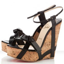 Replica Christian Louboutin Miss Cristo 140mm Wedges Black Cheap Fake Shoes