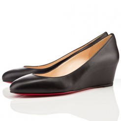 Replica Christian Louboutin New Peanut 40mm Wedges Black Cheap Fake Shoes