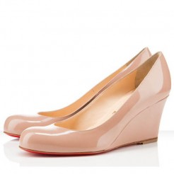 Replica Christian Louboutin Miss Boxe 80mm Wedges Nude Cheap Fake Shoes