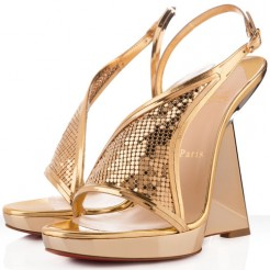 Replica Christian Louboutin Roxy Muse 120mm Wedges Gold Cheap Fake Shoes