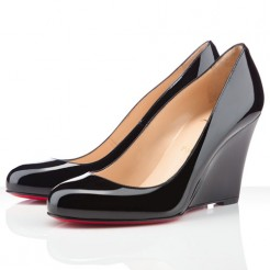 Replica Christian Louboutin Ron Ron Zeppa 80mm Wedges Black Cheap Fake Shoes