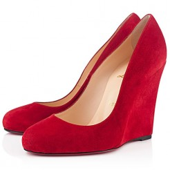 Replica Christian Louboutin Ron Ron Zeppa 100mm Wedges Red Cheap Fake Shoes