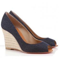 Replica Christian Louboutin Pepi 80mm Wedges Blue Cheap Fake Shoes