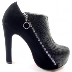 Replica Christian Louboutin 4A 120mm Ankle Boots Black Cheap Fake Shoes