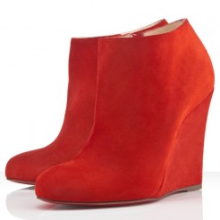 Replica Christian Louboutin Belle Zeppa 100mm Ankle Boots Red Cheap Fake Shoes