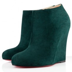 Replica Christian Louboutin Belle Zeppa 100mm Ankle Boots Green Cheap Fake Shoes