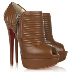 Replica Christian Louboutin Futura 140mm Ankle Boots Brown Cheap Fake Shoes