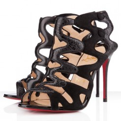 Replica Christian Louboutin Valonana 100mm Ankle Boots Black Cheap Fake Shoes