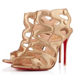 Replica Christian Louboutin Valonana 100mm Ankle Boots Gold Cheap Fake Shoes