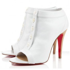 Replica Christian Louboutin Maotic 120mm Ankle Boots White Cheap Fake Shoes