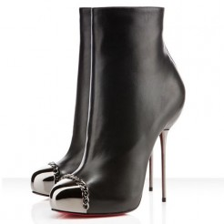Replica Christian Louboutin Metaliboot 120mm Ankle Boots Black Cheap Fake Shoes