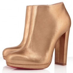 Replica Christian Louboutin Rock And Gold 120mm Ankle Boots Gold Cheap Fake Shoes