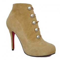 Replica Christian Louboutin Fifre Corset 120mm Ankle Boots Camel Cheap Fake Shoes