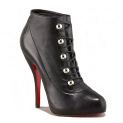Replica Christian Louboutin Fifre Corset 120mm Ankle Boots Black Cheap Fake Shoes