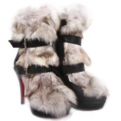 Replica Christian Louboutin Toundra Fur 120mm Ankle Boots Black Cheap Fake Shoes