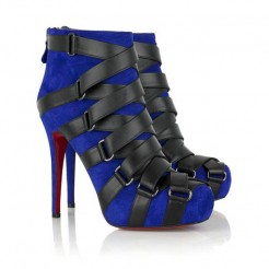 Replica Christian Louboutin Nitoinimoi Bandage 120mm Ankle Boots Navy Cheap Fake Shoes
