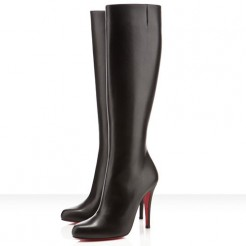Replica Christian Louboutin Bourge 100mm Boots Black Cheap Fake Shoes