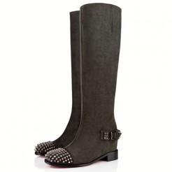 Replica Christian Louboutin Egoutina 40mm Boots Green Cheap Fake Shoes