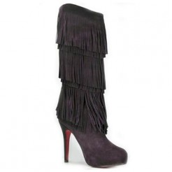 Replica Christian Louboutin Forever Tina 140mm Boots Dark parme Cheap Fake Shoes
