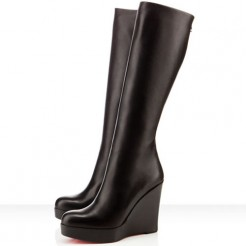 Replica Christian Louboutin Garibaldi 100mm Boots Black Cheap Fake Shoes