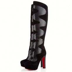 Replica Christian Louboutin Pshycho 120mm Boots Black Cheap Fake Shoes