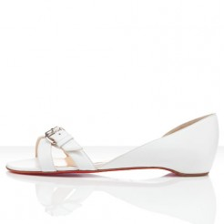 Replica Christian Louboutin Atalanta Flat Sandals White Cheap Fake Shoes