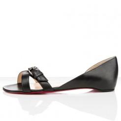 Replica Christian Louboutin Atalanta Flat Sandals Black Cheap Fake Shoes