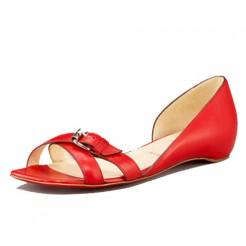 Replica Christian Louboutin Atalanta Flat Sandals Red Cheap Fake Shoes