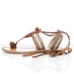 Replica Christian Louboutin Hola nina Flat Sandals Brown Cheap Fake Shoes