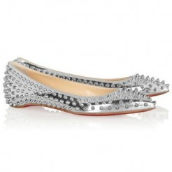 Replica Christian Louboutin Pigalle Spiked Ballerinas Silver Cheap Fake Shoes